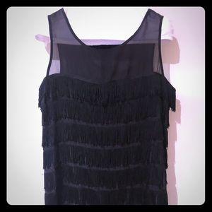 Forever Twenty one fringe black sleeveless dress